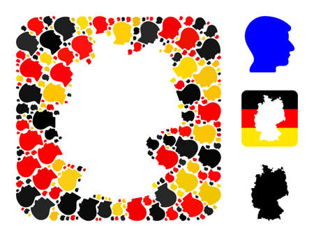 German state map hole mosaic. Hole rounded rectangle collage composed with man head items in various sizes, and Germany flag official colors - red, yellow, black. 矢量图像