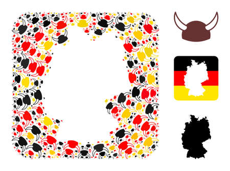 Germany state map stencil mosaic. Stencil rounded square collage composed with horned helmet elements in different sizes, and German flag official colors - red, yellow, black.
