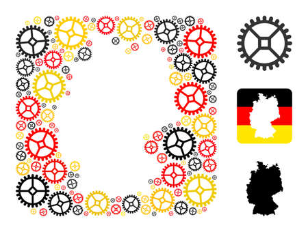 German map hole mosaic. Hole rounded rectangle collage formed from clock gear elements in variable sizes, and Germany flag official colors - red, yellow, black.