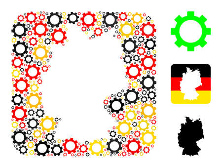 Germany state map stencil mosaic. Stencil rounded square collage formed from gear icons in variable sizes, and German flag official colors - red, yellow, black. Illusztráció