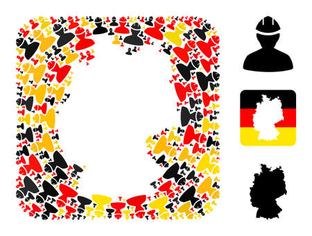 German map stencil mosaic. Stencil rounded rectangle collage designed from worker icons in variable sizes, and Germany flag official colors - red, yellow, black.