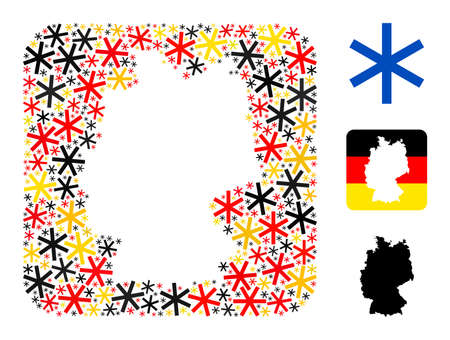 Germany state map hole mosaic. Subtraction rounded square collage created of primitive snowflake elements in various sizes, and German flag official colors - red, yellow, black.
