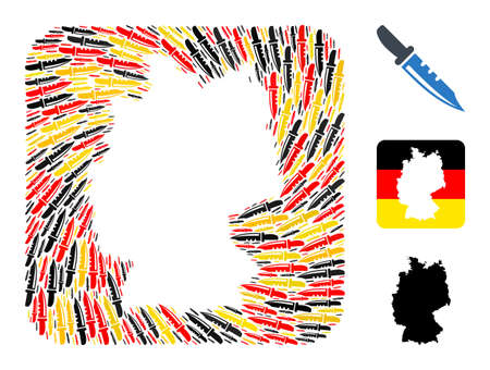 German geographic map hole mosaic. Subtraction rounded square collage created of knife icons in different sizes, and Germany flag official colors - red, yellow, black.