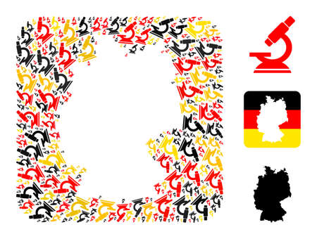 Germany geographic map stencil mosaic. Stencil rounded rectangle collage composed with microscope items in variable sizes, and Germany flag official colors - red, yellow, black.