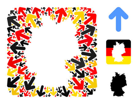 Germany geographic map stencil mosaic. Hole rounded square collage designed of direction arrow icons in variable sizes, and Germany flag official colors - red, yellow, black.