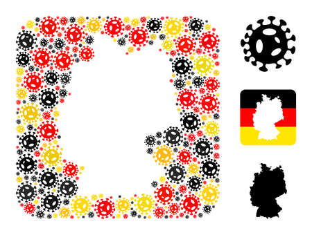 German geographic map hole mosaic. Stencil rounded square collage formed from virus elements in variable sizes, and Germany flag official colors - red, yellow, black. Illusztráció