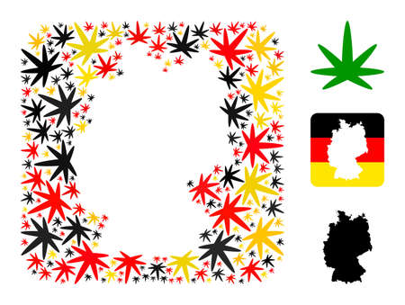 German state map hole mosaic. Hole rounded square collage created of cannabis leaf elements in variable sizes, and Germany flag official colors - red, yellow, black. Illusztráció