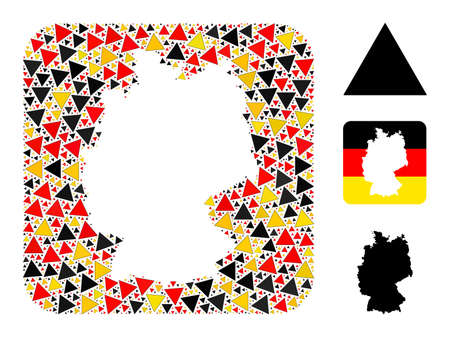 Germany geographic map hole mosaic. Stencil rounded rectangle collage composed from filled triangle elements in variable sizes, and Germany flag official colors - red, yellow, black. 矢量图像