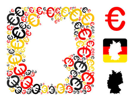 Germany map subtraction mosaic. Stencil rounded rectangle collage composed of euro elements in different sizes, and Germany flag official colors - red, yellow, black.