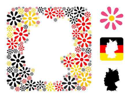 German geographic map hole mosaic. Hole rounded rectangle collage formed of flower icons in various sizes, and Germany flag official colors - red, yellow, black.