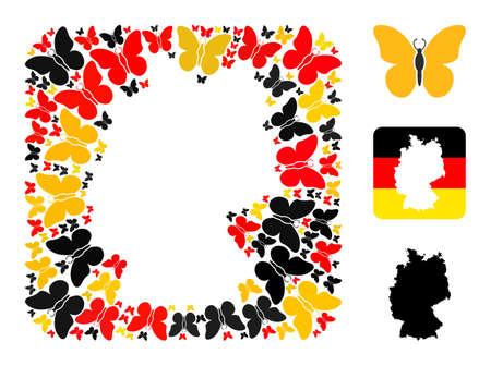 German geographic map stencil mosaic. Stencil rounded square collage composed of butterfly elements in different sizes, and German flag official colors - red, yellow, black. Illusztráció