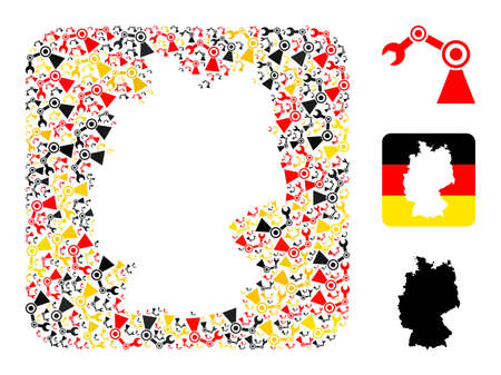 German state map hole mosaic. Hole rounded square collage composed of industrial robot icons in various sizes, and Germany flag official colors - red, yellow, black.