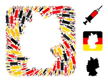 Germany map hole mosaic. Stencil rounded square collage designed of blood syringe items in various sizes, and Germany flag official colors - red, yellow, black. Illusztráció