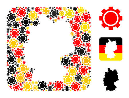 Germany map stencil mosaic. Hole rounded rectangle collage designed with gear icons in different sizes, and Germany flag official colors - red, yellow, black.