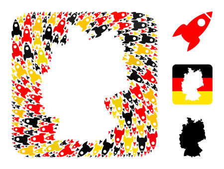 Germany geographic map hole mosaic. Hole rounded square collage designed from rocket items in variable sizes, and Germany flag official colors - red, yellow, black.
