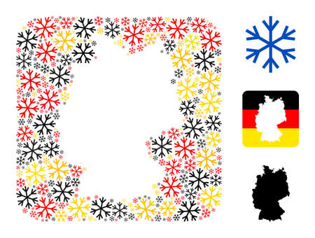 Germany state map subtraction mosaic. Hole rounded rectangle collage composed from snowflake items in different sizes, and Germany flag official colors - red, yellow, black.