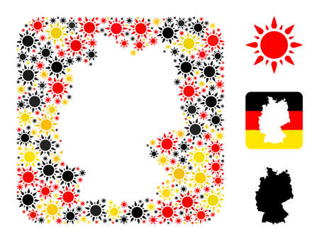 Germany geographic map stencil mosaic. Subtraction rounded square collage formed with sunshine icons in variable sizes, and Germany flag official colors - red, yellow, black. Illusztráció