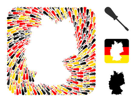 German geographic map hole mosaic. Subtraction rounded rectangle collage designed of screwdriver icons in variable sizes, and German flag official colors - red, yellow, black.