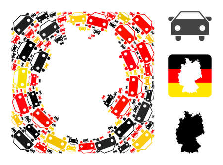 Germany map stencil mosaic. Stencil rounded rectangle collage formed from car icons in variable sizes, and Germany flag official colors - red, yellow, black.