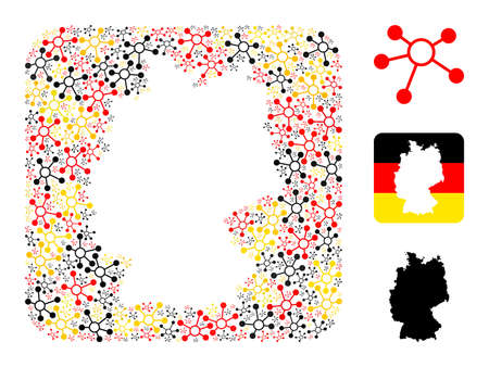 Germany state map stencil mosaic. Stencil rounded square collage composed with links icons in various sizes, and Germany flag official colors - red, yellow, black.
