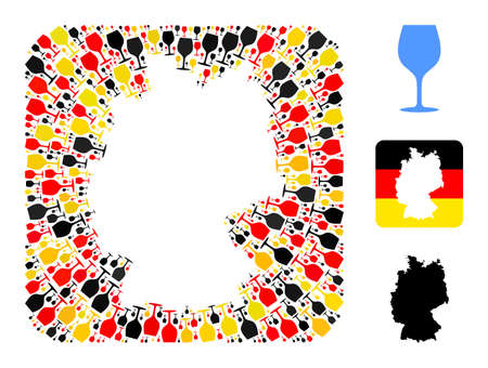 German state map subtraction mosaic. Subtraction rounded square collage created with wine glass icons in different sizes, and Germany flag official colors - red, yellow, black.