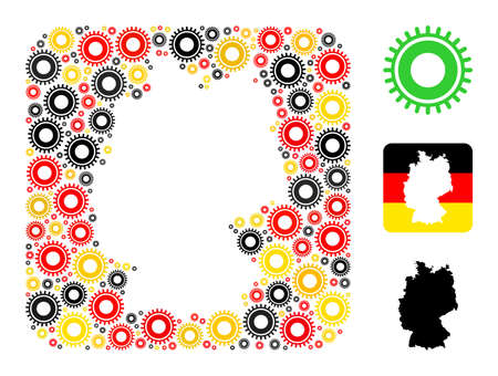 Germany map stencil mosaic. Subtraction rounded rectangle collage created with gear elements in various sizes, and Germany flag official colors - red, yellow, black.