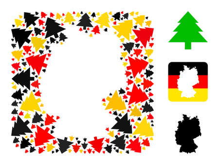 Germany map stencil mosaic. Stencil rounded square collage composed from fir tree elements in different sizes, and Germany flag official colors - red, yellow, black.