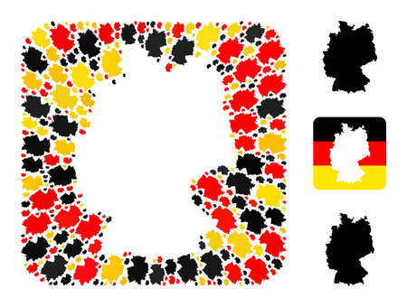 Germany geographic map stencil mosaic. Stencil rounded square collage composed of Germany map elements in various sizes, and Germany flag official colors - red, yellow, black. 矢量图像