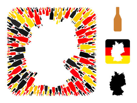 German state map subtraction mosaic. Subtraction rounded rectangle collage created with beer bottle icons in variable sizes, and German flag official colors - red, yellow, black.