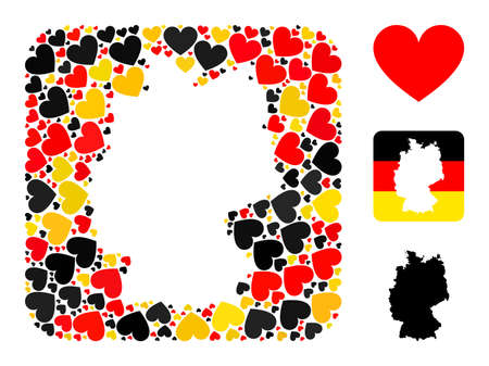 Germany state map stencil mosaic. Stencil rounded square collage designed with love heart icons in variable sizes, and German flag official colors - red, yellow, black.
