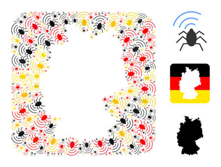 German state map hole mosaic. Subtraction rounded rectangle collage created with radio bug icons in different sizes, and German flag official colors - red, yellow, black. Illusztráció