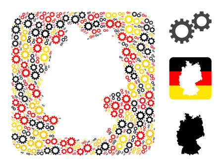 German state map subtraction mosaic. Subtraction rounded square collage formed with gearwheels items in different sizes, and German flag official colors - red, yellow, black.