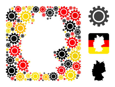 Germany geographic map stencil mosaic. Stencil rounded square collage formed of cog icons in variable sizes, and German flag official colors - red, yellow, black.