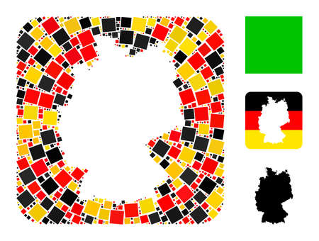 Germany map hole mosaic. Hole rounded square collage formed of filled square icons in different sizes, and Germany flag official colors - red, yellow, black. 矢量图像
