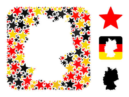 Germany state map subtraction mosaic. Stencil rounded square collage designed with star icons in variable sizes, and Germany flag official colors - red, yellow, black.