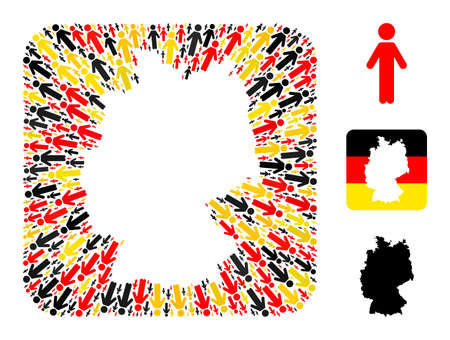 German geographic map hole mosaic. Subtraction rounded square collage formed from person elements in variable sizes, and German flag official colors - red, yellow, black.