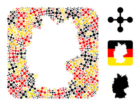 Germany geographic map hole mosaic. Hole rounded rectangle collage composed with mesh node icons in variable sizes, and German flag official colors - red, yellow, black.