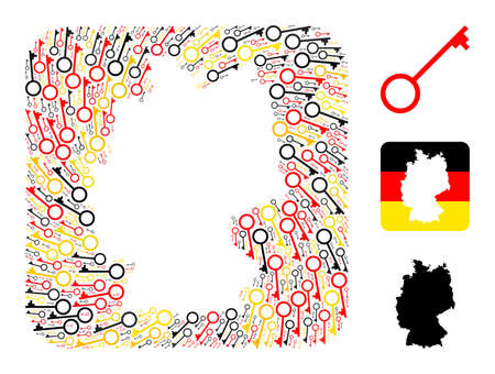 Germany map stencil mosaic. Stencil rounded square collage created of key elements in various sizes, and German flag official colors - red, yellow, black.