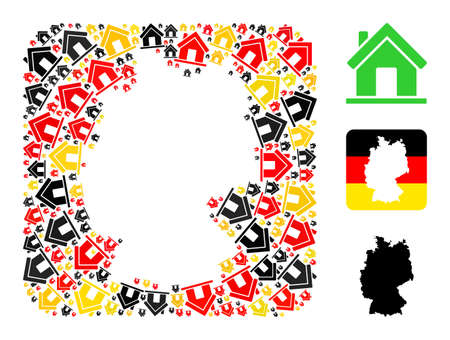 German state map stencil mosaic. Hole rounded square collage designed of home elements in different sizes, and Germany flag official colors - red, yellow, black.