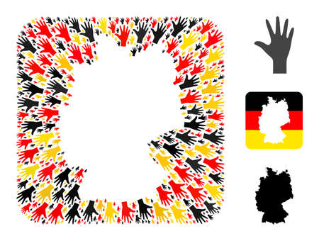 German map hole mosaic. Hole rounded square collage formed with palm fingers items in variable sizes, and German flag official colors - red, yellow, black. 矢量图像