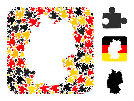 Germany state map subtraction mosaic. Hole rounded square collage formed of puzzle plugin elements in different sizes, and Germany flag official colors - red, yellow, black. 矢量图像
