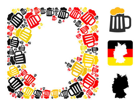 German state map hole mosaic. Hole rounded rectangle collage designed of beer mug elements in different sizes, and Germany flag official colors - red, yellow, black.