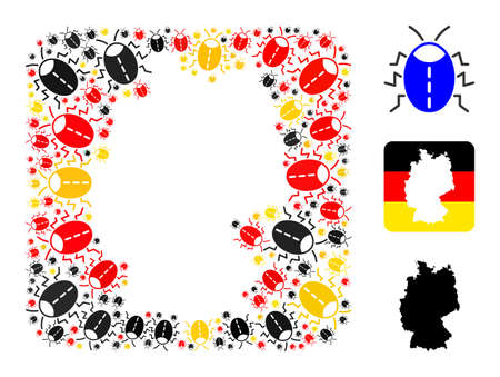 German geographic map subtraction mosaic. Subtraction rounded square collage created with bug elements in various sizes, and German flag official colors - red, yellow, black.