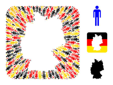 Germany state map subtraction mosaic. Stencil rounded rectangle collage composed with man elements in various sizes, and Germany flag official colors - red, yellow, black. 矢量图像