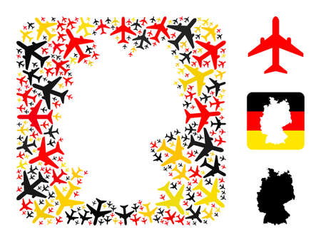 German map subtraction mosaic. Stencil rounded rectangle collage created with airplane elements in variable sizes, and German flag official colors - red, yellow, black.