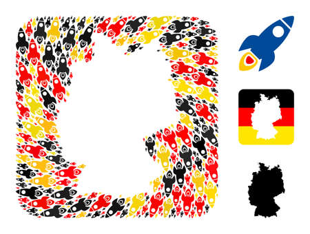 Germany state map subtraction mosaic. Subtraction rounded square collage composed with space rocket elements in variable sizes, and Germany flag official colors - red, yellow, black.