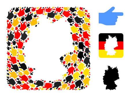 German map hole mosaic. Subtraction rounded rectangle collage formed of right pointer finger elements in various sizes, and German flag official colors - red, yellow, black.
