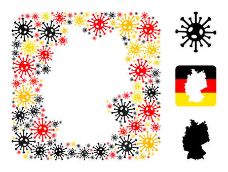 German geographic map stencil mosaic. Stencil rounded square collage designed of coronavirus items in variable sizes, and Germany flag official colors - red, yellow, black.