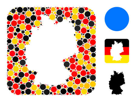 Germany geographic map hole mosaic. Hole rounded square collage designed with filled circle elements in variable sizes, and German flag official colors - red, yellow, black.