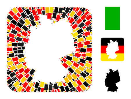 German map stencil mosaic. Stencil rounded rectangle collage created with filled rectangle elements in various sizes, and German flag official colors - red, yellow, black.